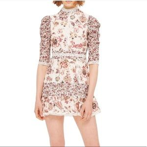 ISO TOPSHOP FLORAL LACE STRAPPY BACK DRESS
